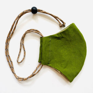 Green Adjustable Face Mask Teen/Small Adult with Nose Wire by Beedle Button Stitch