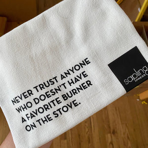 Favorite Burner Tea Towel by Sapling Press