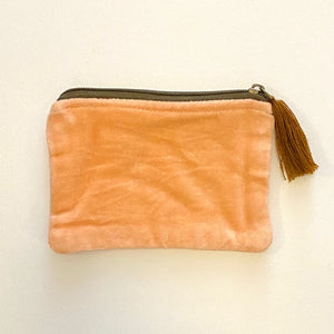 Velvet Zip Pouch with Tassel - Coral / Rust