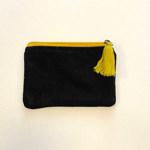 Velvet Zip Pouch with Tassel - Iron / Curry