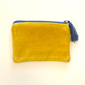 Velvet Zip Pouch with Tassel - Curry / Cornflower