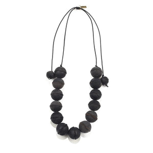 Black Leather Ball Adjustable Necklace
