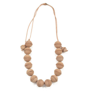 Natural Leather Ball Adjustable Necklace