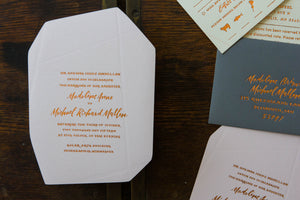 A Geometric and Feminine Rose Gold Wedding Suite
