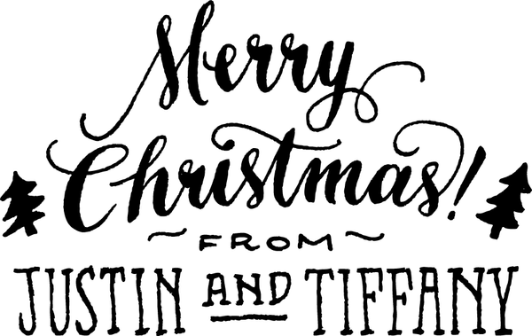 Merry Christmas Interior Greeting Rubber Stamp