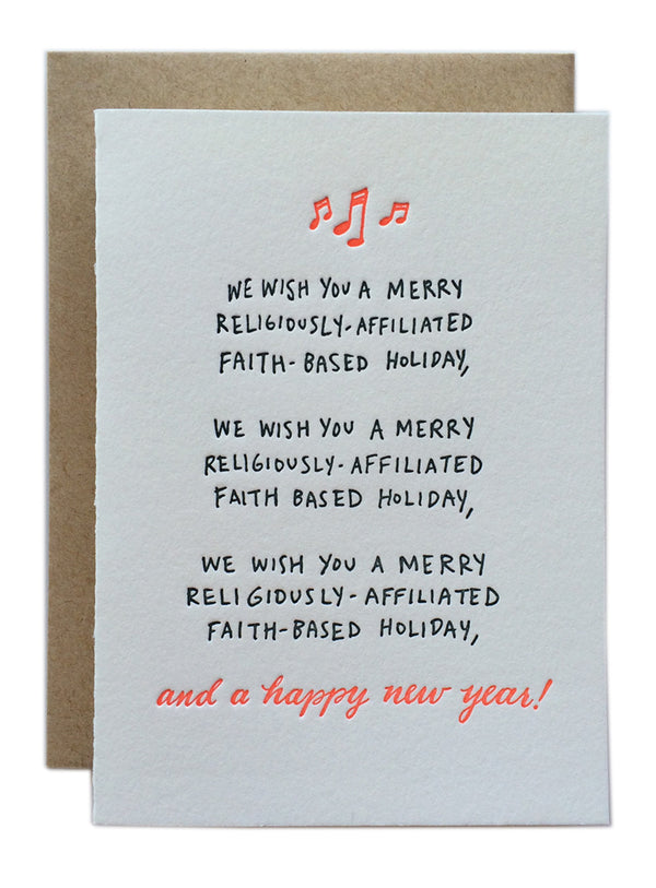 We Wish You A Merry Religiously-Affiliated Faith-Based Holiday...