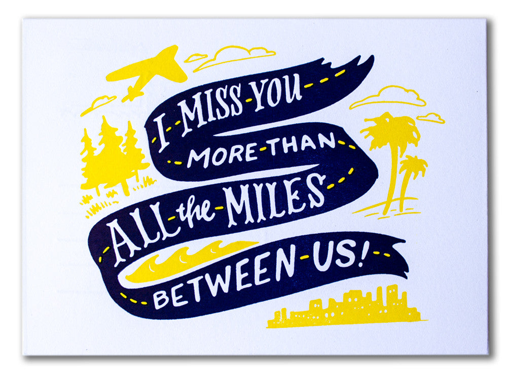 I Miss You More Than All The Miles Between Us Postcard Ladyfingers