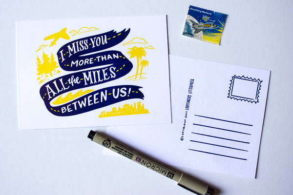 I Miss You More Than All The Miles Between Us Postcard