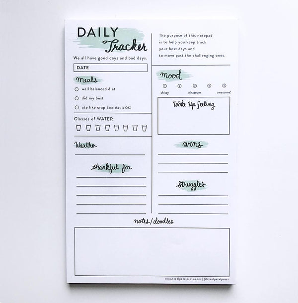 Mint Daily Tracker Notepad