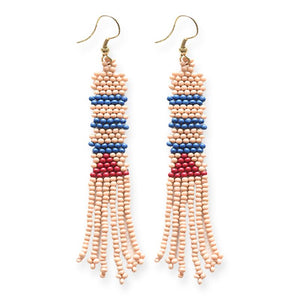 Pink Fringe Beaded Earring