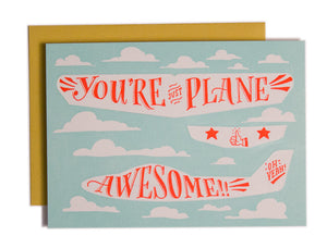 Plane Awesome Paper Airplane Card
