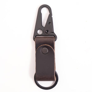 CHARCOAL CLIP LEATHER KEYCHAIN
