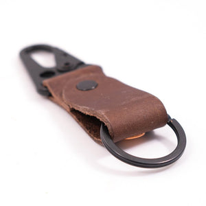 DARK BROWN CLIP LEATHER KEYCHAIN