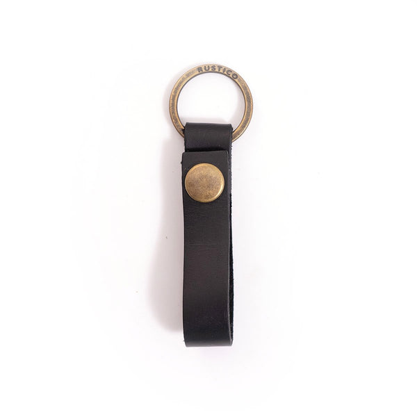 BLACK LOOP LEATHER KEYCHAIN
