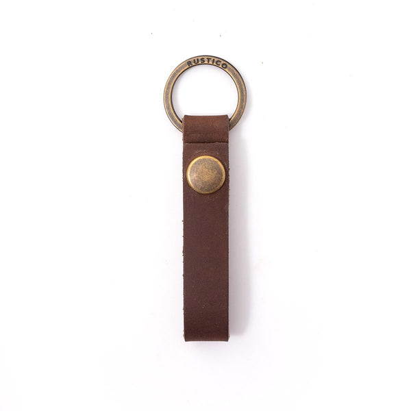 DARK BROWN LOOP LEATHER KEYCHAIN