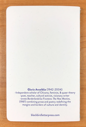Gloria Anzaldúa notebook by Blackbird Letterpress