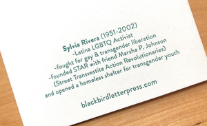 Sylvia Rivera card by Blackbird Letterpress