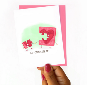 You Complete Me Puzzle Piece Card by Nicole Marie Paperie