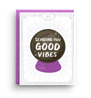 Good Vibes Crystal Ball Congrats Card by Nicole Marie Paperie