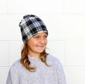 Black and White Plaid Child Beanie/Mask by Pretty Simple