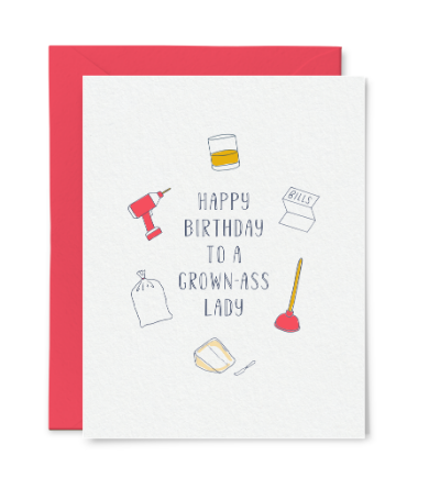 Grown-Ass Lady Birthday Card by Little Goat Paper