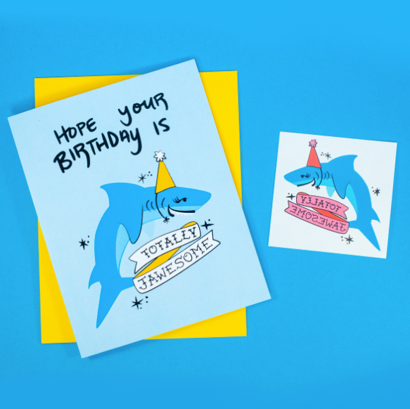 Jawesome Birthday Greeting Card + Temporary Tattoo by Rhino Parade
