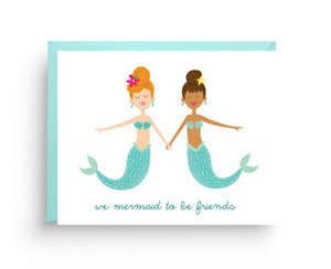 We Mermaids To Be Friends Card by Nicole Marie Paperie