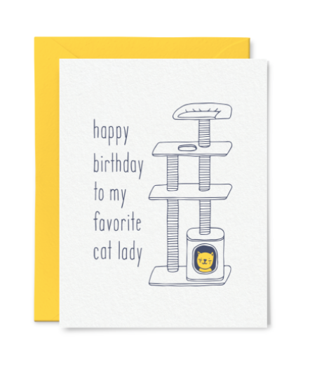 Cat Lady Birthday Card by Little Goat Paper