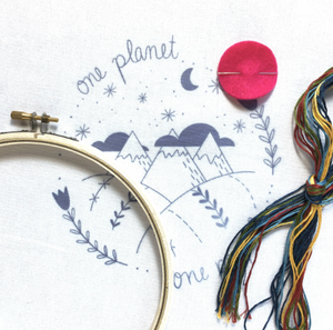 One Planet Embroidery Stitch Kit by budgiegoods