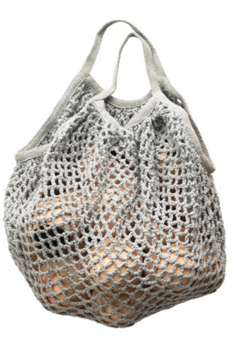 Grey Cotton Crochet Market Bag