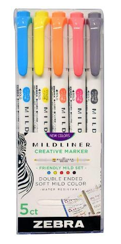 Friendly Zebra Mildliner Double Ended Highlighter 5 Packs