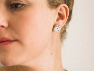 Pinstripe Fan Earrings by Jenna Vanden Brink Ceramics