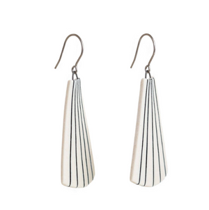 Pinstripe Fan Drop Earrings by Jenna Vanden Brink Ceramics