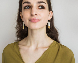 Porcelain Linen Bar Hoop Earrings by Jenna Vanden Brink Ceramics