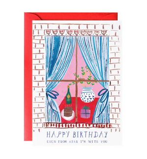 Window Party Birthday Greeting Card by Mr. Boddington's Studio