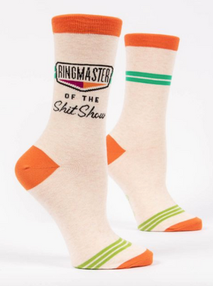 RINGMASTER OF THE SHIT SHOW WOMENS CREW SOCKS