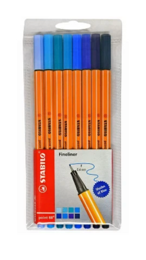 Copy of STABILO Point 88- Pack of 8 Shades of Blue