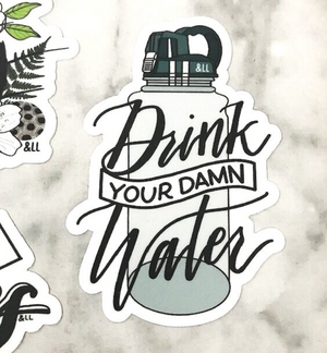 Drink Your Damn Water sticker by Ampersand Lettering Lab