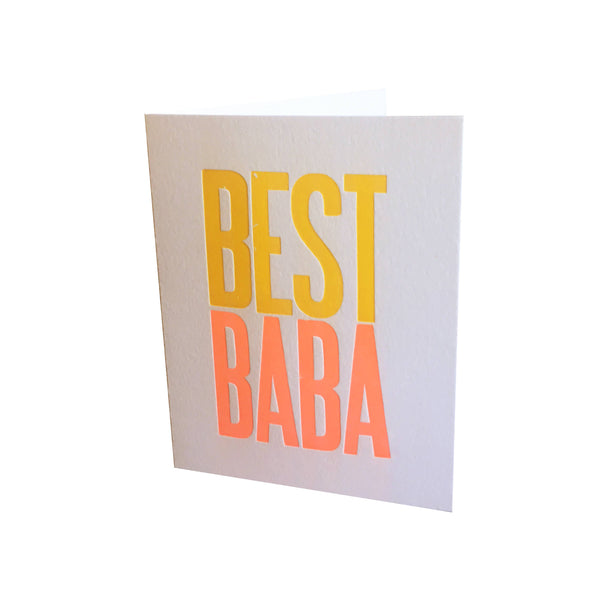 Best Baba Greeting Card by Lady Bones Print Co