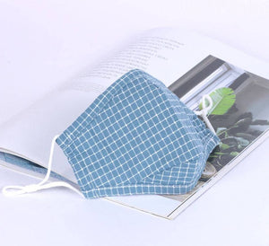 Blue Checkers Reusable Cotton Face Mask with Nose Wire