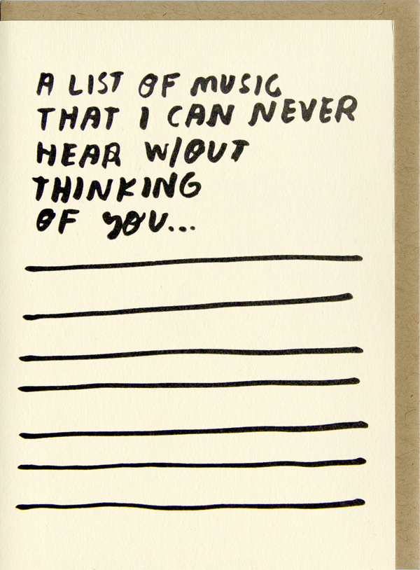 Songs Card by People I've Loved