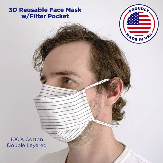 Linen 3-D Mask w/ Filter Pocket
