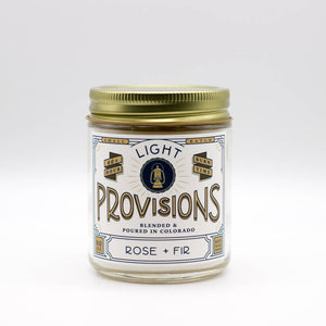 Light Provisions - 8 oz Rose + Fir candle