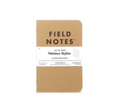 Original Kraft 3-Packs - PLAIN PAPER - Field Notes