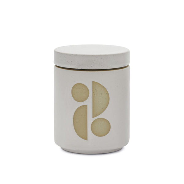 FORM WHITE CERAMIC CANDLE WITH LID - Tobacco Flower