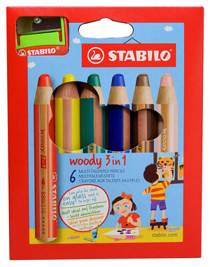 Stabilo Woody Colored Pencil, Watercolor, Crayon - Set of 6