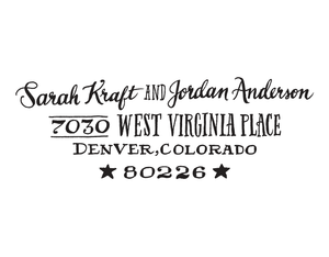 Star Return Address Rubber Stamp