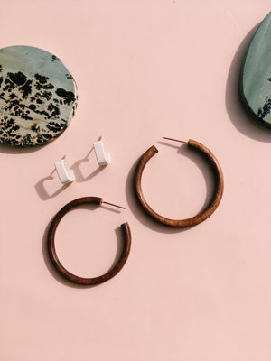 WOODEN HOOPS in Walnut - THE UNIVERSE CONSPIRES