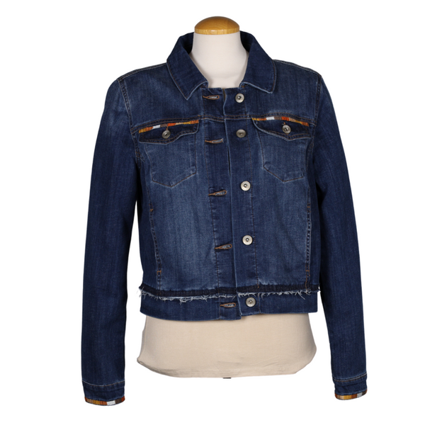 Embroidered Cropped Denim Jacket with Frayed Detail