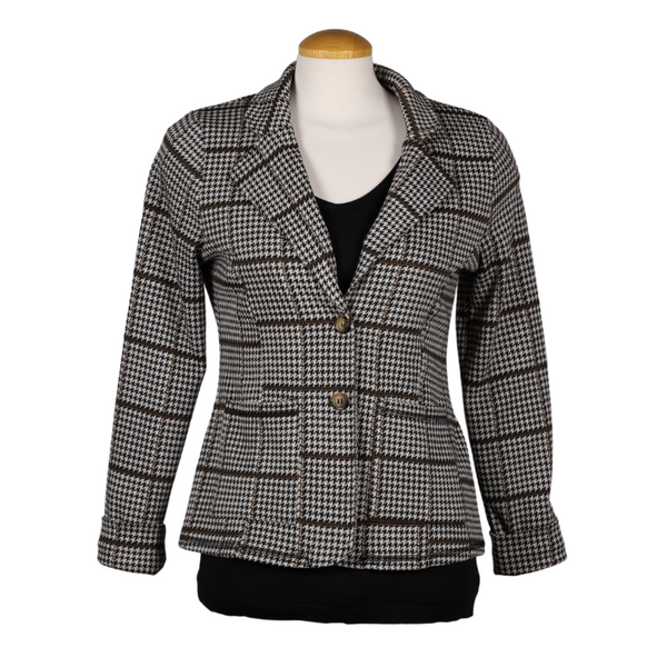 CREAM Short Houndstooth Check Blazer with Brown Stripe